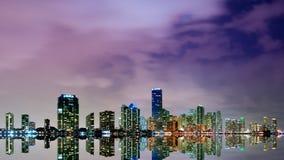 Miami skyline at night time lapse stock footage