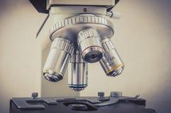Microscope in scientific and healthcare research laboratory Stock Photo
