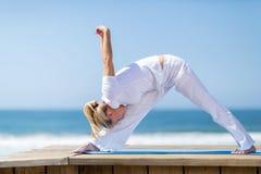 Mid age woman yoga Royalty Free Stock Photo
