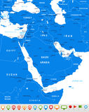 Middle East and Asia - map and navigation icons - illustration. Royalty Free Stock Photos