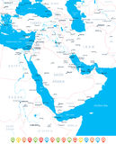 Middle East and Asia - map, navigation icons - illustration. Stock Photo