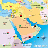 Middle east map with flags Royalty Free Stock Photography