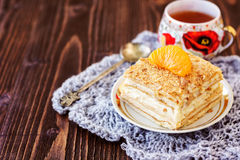 Millefeuille pastry with a cup of tea Royalty Free Stock Images