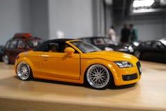 Miniature yellow car Royalty Free Stock Photos