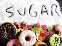 Mix of sweet cakes, donuts and candy with sugar spread and written text in unhealthy nutrition Stock Photography