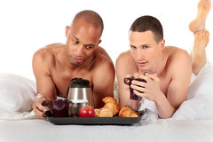Mixed ethnicity gay couple Royalty Free Stock Photos