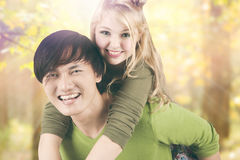 Mixed race couple in the nature Royalty Free Stock Photo