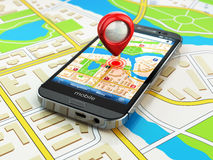 Mobiel GPS-navigatieconcept Smartphone op kaart van de stad, Stock Fotografie