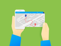 Mobile app for gps navigation Stock Photo