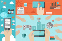 Mobile communication and gaming flat illustration Stock Image