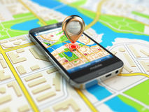 Mobile GPS navigation concept. Smartphone on map of the city, Stock Photos