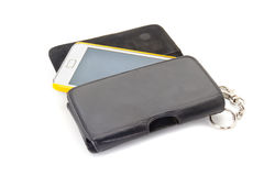 Mobile phone with  black casing  on white background Royalty Free Stock Image
