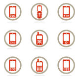 Mobile phone icon set Royalty Free Stock Photo
