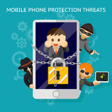 Mobile phone protection threats. Security against Royalty Free Stock Photo