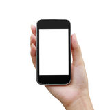 Mobile phone in a woman hand Stock Images