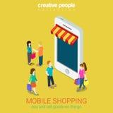 Mobile shopping online store e-commerce 3d web isometric concept Stock Photo