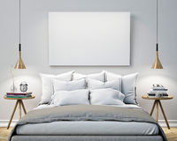 Mock up blank poster on the wall of bedroom, 3D illustration background Stock Image