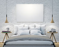 Mock up blank poster on the wall of bedroom, 3D illustration background Stock Images