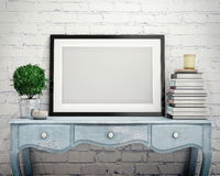 Mock up poster frame on vintage chest of drawers, interior Royalty Free Stock Photography
