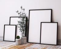 Mock up poster frames in hipster loft interior Royalty Free Stock Image