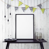 Mock up poster in interior background with party decoration, Stock Images