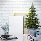 Mock up poster on the white brick wall with christamas decoration, background Royalty Free Stock Images