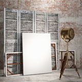 Mock up posters in loft interior with industry lamp, background Royalty Free Stock Photos