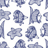 Modèle graphique sans couture avec des poissons Images libres de droits