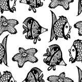 Modèle graphique sans couture avec des poissons Photographie stock libre de droits