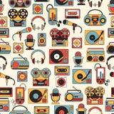 Modèle sans couture avec des symboles de la musique et des icônes audio Images libres de droits