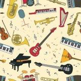 Modèle sans couture d'instruments de musique Photo libre de droits