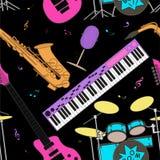 Modèle sans couture d'instruments de musique Image stock