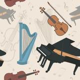 Modèle sans couture d'instruments de musique Images stock
