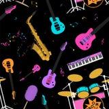 Modèle sans couture d'instruments de musique Photos stock