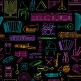 Modèle sans couture d'instruments de musique Photographie stock libre de droits