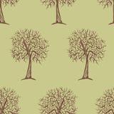 Modèle sans couture de vecteur avec des silhouettes d'arbres Photos stock