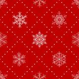 Modèle sans couture des flocons de neige, blanc sur le rouge Images stock