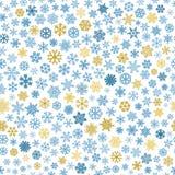 Modèle sans couture des flocons de neige, bleu et brun sur le blanc Image stock