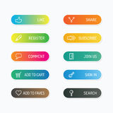 Modern banner button with social icon design options. Vector ill Stock Images