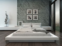 Modern bedroom interior with stone wall Stock Photo