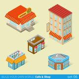 Modern city business buildings architecture icon set Stock Image