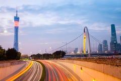 Modern guangzhou in nightfall Royalty Free Stock Images