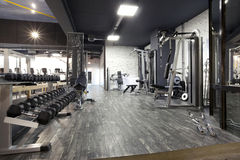 Modern gym interior with various equipment Stock Images