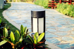 Modern lawn lamp garden light outdoor landscape lighting Royalty Free Stock Photo