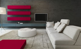 Modern living room interior with stone wall and red cupboard Stock Photography