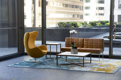 Modern office building lobby furniture Stock Images