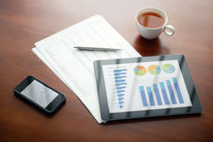Modern workplace with Apple iPad and iPhone Royalty Free Stock Image
