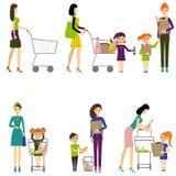 Moeder met kind in een supermarkt/een Vector/Moeder met baby Stock Foto's