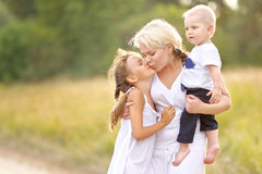 Mom with son and daughter Stock Image