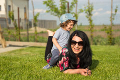 Mom and son having fun outside Royalty Free Stock Photo